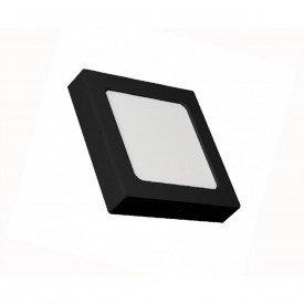 painel led quadrado embutir ou sobrepor ecoforce preto 12w luz branca