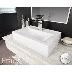 cuba de apoio com mesa lavatorio prada 45 cm branco