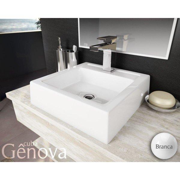 cuba de apoio com mesa lavatorio genova 41 cm branco