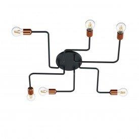 plafon orluce edison hastes 6xe27 or502 preto fosco bronze