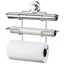 suporte para papel toalha aluminio pvc com ventosa praticita future 4018 cromado