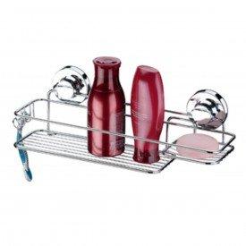 suporte para shampoo sabonete com ventosa praticita future 4000 cromado