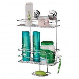 suporte para shampoo sabonete com ventosa praticita future 4025 cromado