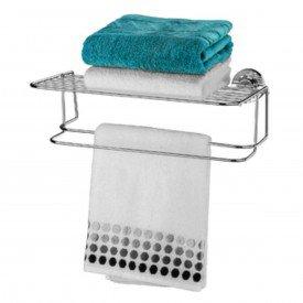 toalheiro com prateleira com ventosa praticita future 4023 cromado