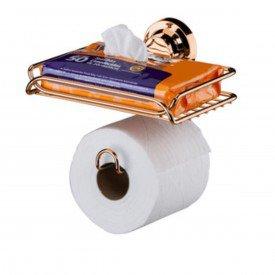 suporte papel higienico com porta objeto com ventosa praticita utile future rose gold
