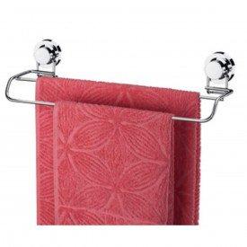 toalheiro barra duplo com ventosa praticita utile cromado