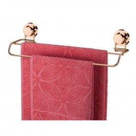 toalheiro barra duplo com ventosa praticita utile rose gold