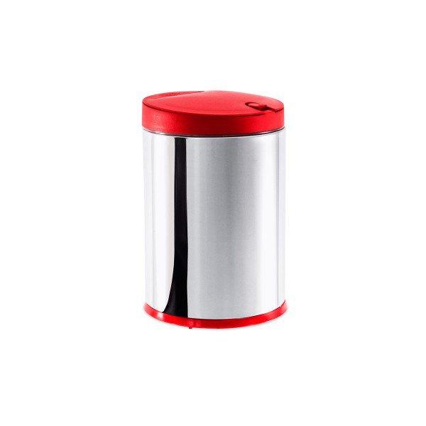lixeira aco inox com tampa pp vermelha press pia brinox 4l