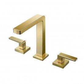 misturador lavatorio de mesa bica alta docol stillo ouro polido 00820443