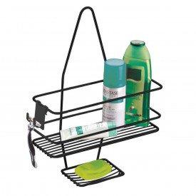 suporte para shampoo sabonete de registro com gancho future superiore 997 preto fosco