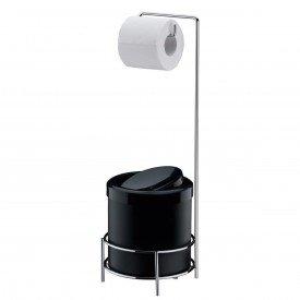 suporte para papel higienico com lixeira basculante 5 litros preta superiore future 1106